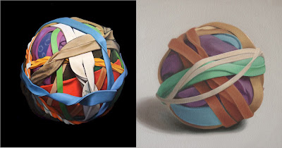 Joanna Strong and Sandy Wilcox paintings of rubber band balls