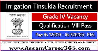Irrigation Tinsukia Recruitment 2021 - 3 Grade IV Vacancy