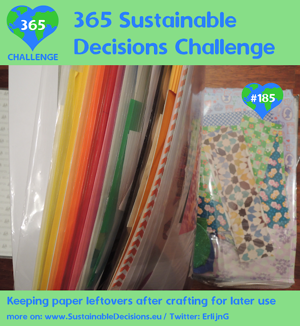 Keeping paper leftovers after crafting for later use reducing waste