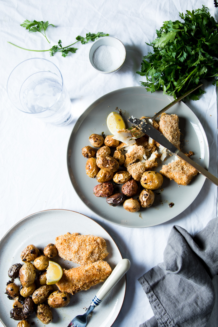 parmesan crusted pollock with garlic roasted potatoes