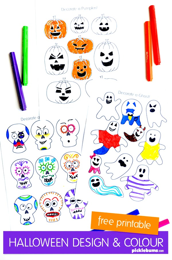 Have fun creating cool designs with these free mini halloween character colouring in sheets