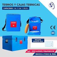 anuncio termos Nilkamal 1,6 litros celestes azules BDVC-44 vacunas cajas termicas ice packs paquetes frios numero salud y superacion telefono