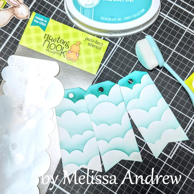 Birthday Tags by Guest Designer Melissa Andrew   Frames & Flags Die Set and Clouds Stencil by Newton's Nook Designs #newtonsnook