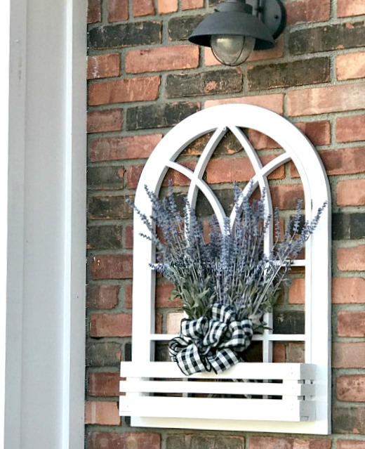 Arched window with lavendar