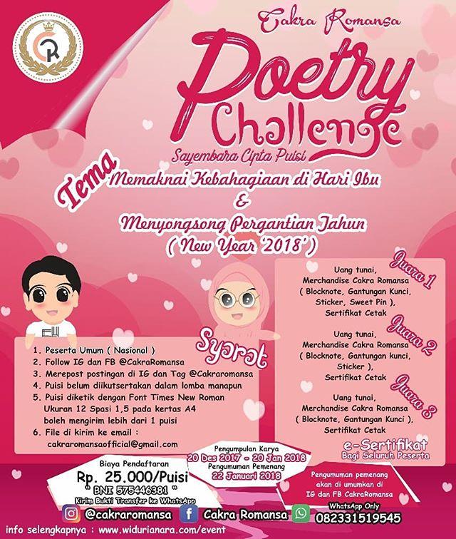 Sayembara Cipta Puisi Poetry Challenge Peserta Untuk Umum