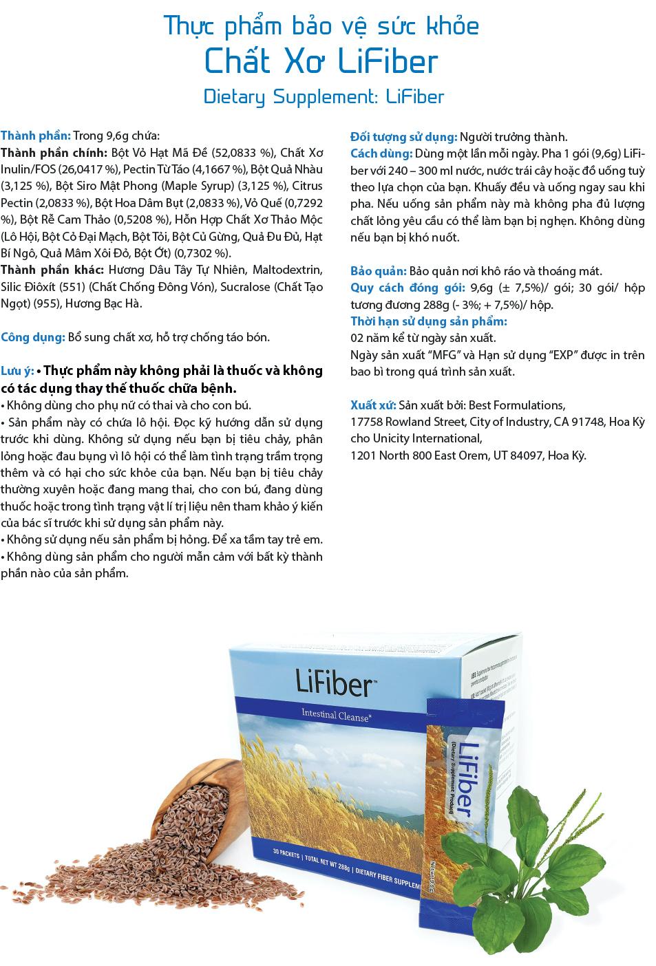 LiFiber | Bo sung chat xo, thai doc dai trang, ngua tao bon