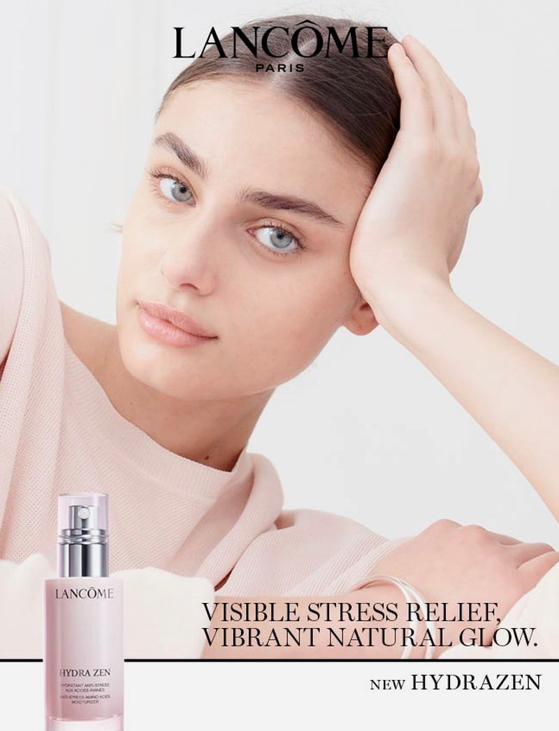 Taylor Hill Gets Her Closeup in Lancome 'Hydra Zen' Campaign