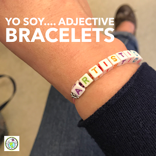 Yo soy adjectives bead bracelets for World Language Class Spanish