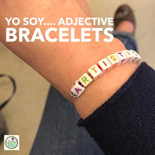 Yo soy adjectives bead bracelets for World Language Class Spanish