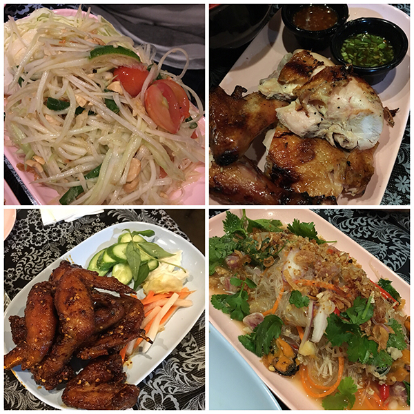 Chicken wings, chicken, papaya salad, and glass noodle salad at Pok Pok