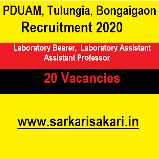 PDUAM, Tulungia, Bongaigaon Recruitment 2020 - Laboratory Assistant And Bearer/ Assistant Professor (20 Posts)