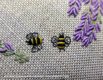 Embroidered bullion bees for the Lavender and Bees Pincushion by Lorna Bateman