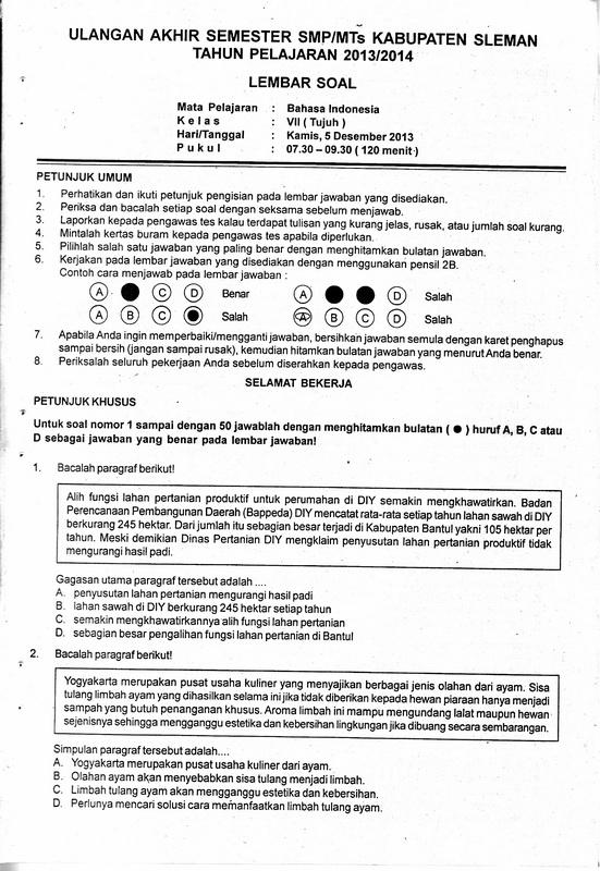 Soal Uas Bahasa Indonesia Smp Kelas 7 9 Semester 1 Sleman Giri Widodo