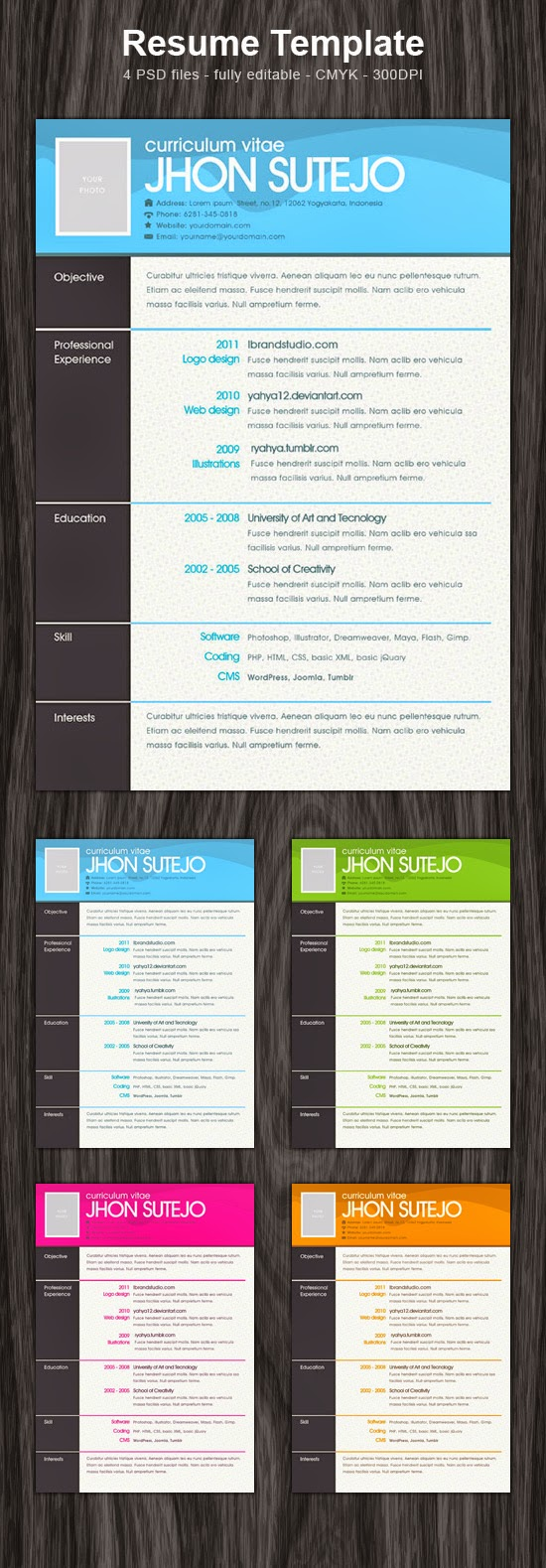 One Page Pattern Resume Template PSD