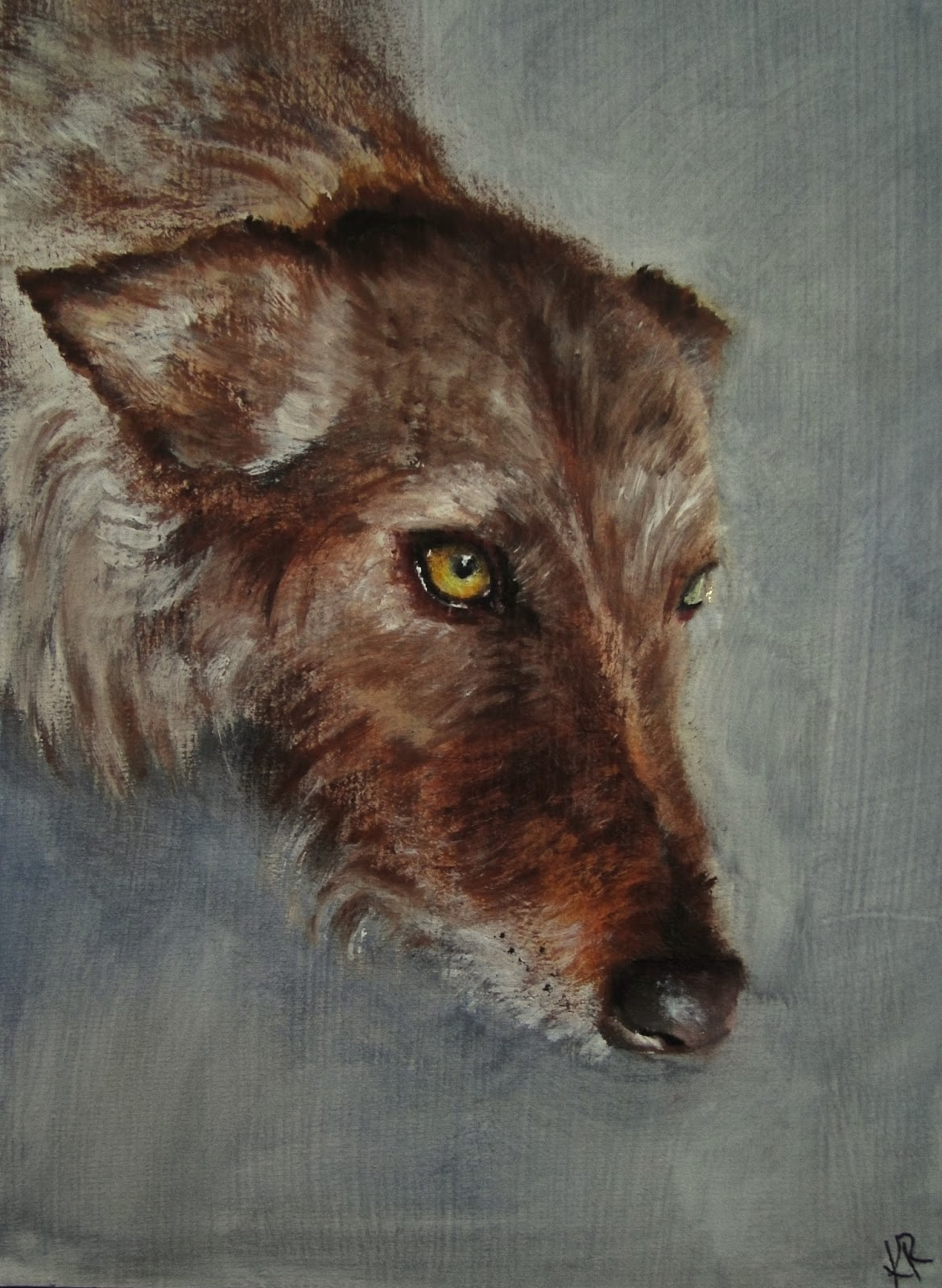 oil painting of a wire-coated lurcher, greyhound, a pet portrait by Karen