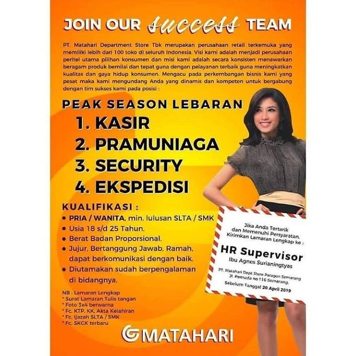 Lowongan Kerja Kasir Pramuniaga Security Ekspedisi Di Pt Matahari Dept Store Paragon Semarang Bursa Lowongan Kerja