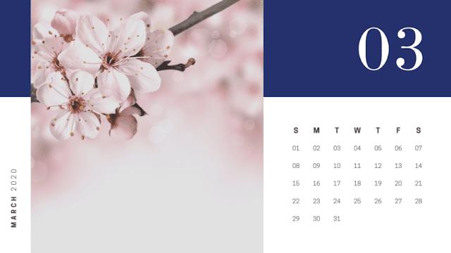 Calendario elegante azul de marzo 2020