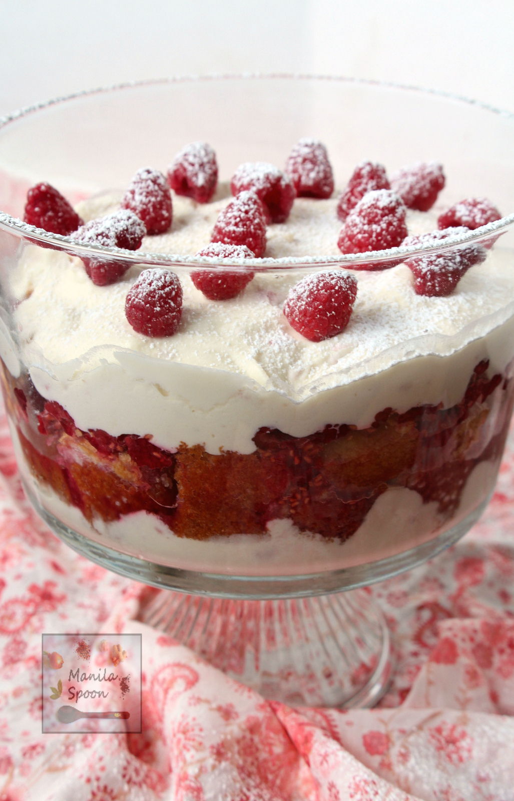 with cake, white chocolate mousse and raspberries this no bake trifle ...