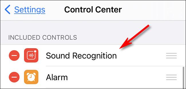 التعرف على الصوت في أعلى قائمة مركز التحكم