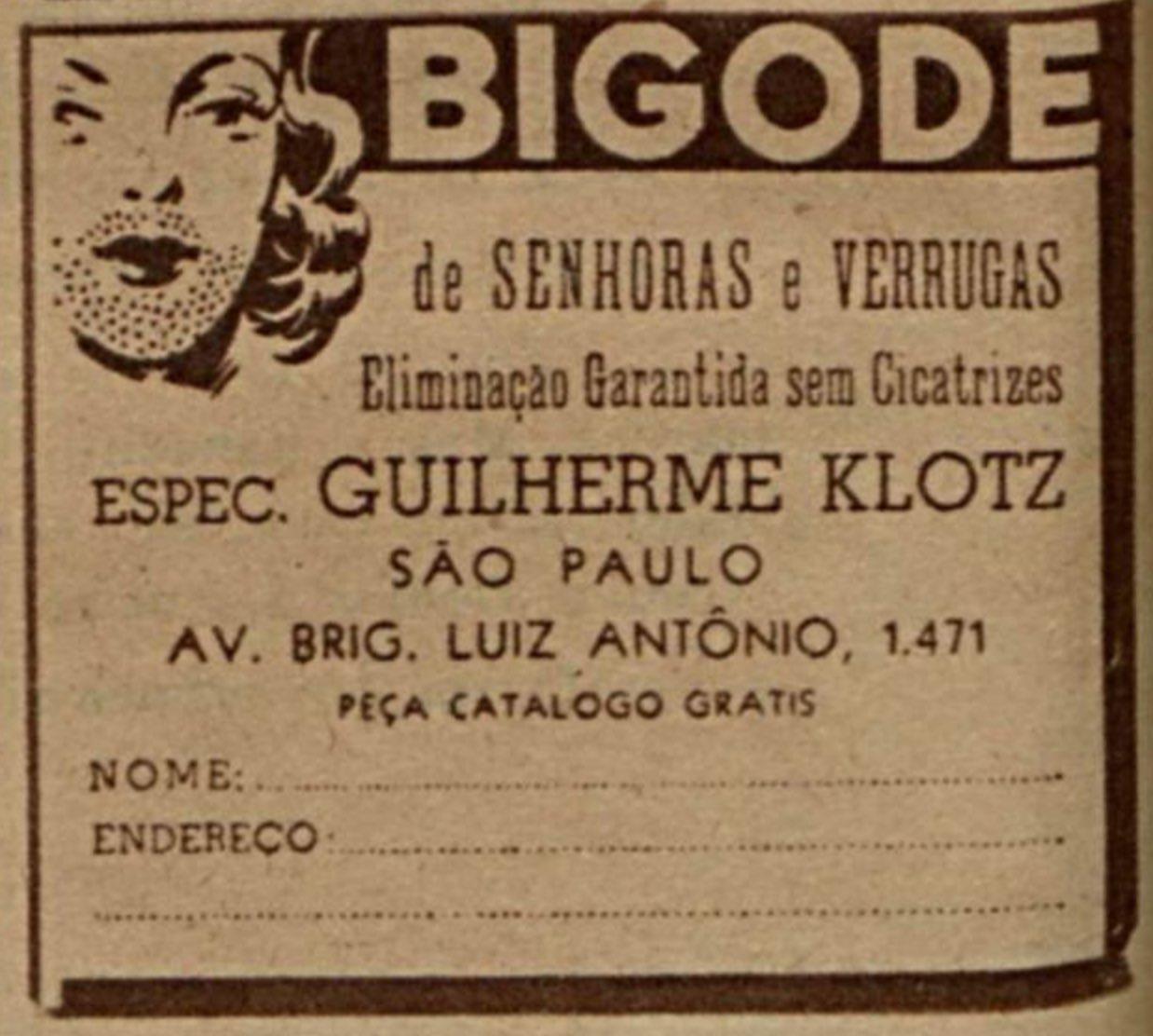 Anúncio veiculado em 1947 que prometia o fim de bigodes e verrugas em mulheres