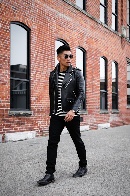 Leo Chan wearing Black Leather Coach Jacket for Fall