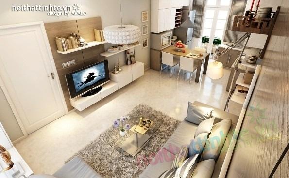 Trang trí nội thất phòng khách cho căn hộ 70m2 aa
