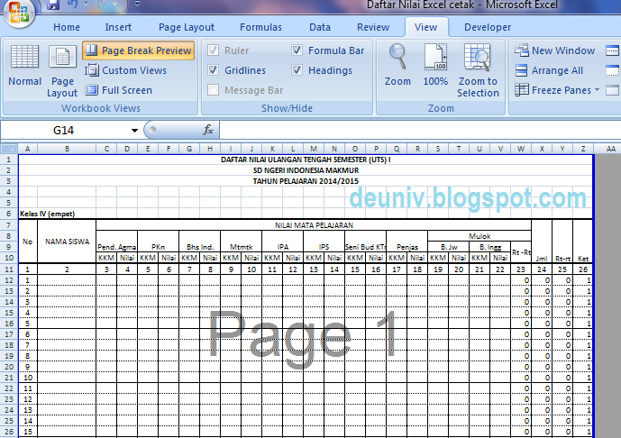 tampilan page break preview ms excel
