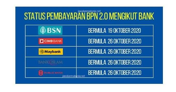 TARIKH PEMBAYARAN BPN 2.0 MENGIKUT BANK MASING-MASING