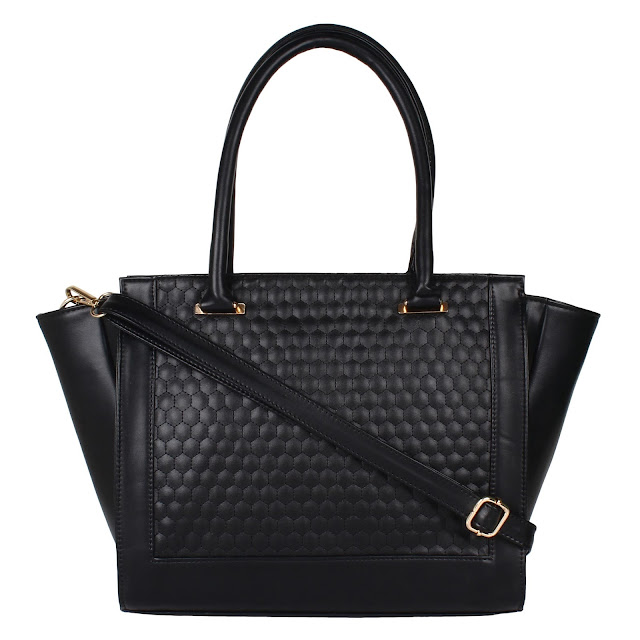 EMBOSSED TRAPEZE HANDBAG - BLACK 1900