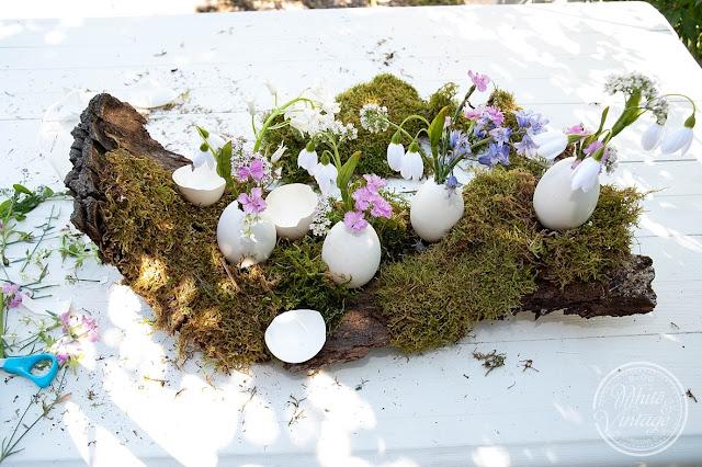 Naturdeko aus Eiern, Baumrinde, Moos und Blumen.