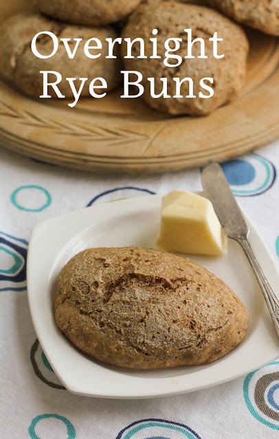 Food Lust People Love: By volume, these overnight rye buns are about half unbleached bread flour, that is to say, wheat, and half dark rye flour, which means they have plenty of flavor and a lovely texture. Lighter than all rye and chewier than white bread, these buns are the perfect combination. Eat them split open and spread with creamy butter!