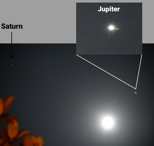 An annotated version of the photo that I took of the Moon, Saturn and Jupiter...with two of Jupiter's four large Galilean moons visible in this image.