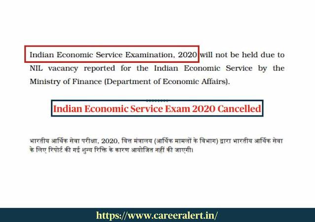 Indian Economic Service Exam 2020