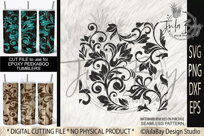 Tooled Leather SVG Peekaboo Tumbler Seamless Pattern Swirls
