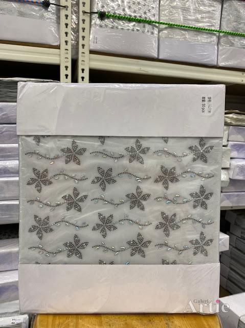 Hotfix stickers pelekat dmc aplikasi tudung bawal fabrik corak bunga 5 kelopak dengan pearl