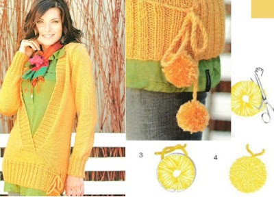 Pullover tricot con escote largo en V y pompon ajustable