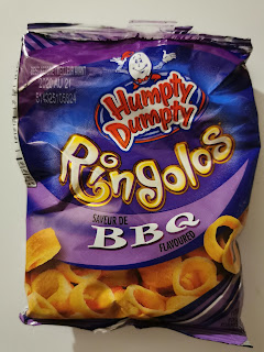 An open bag of Humpty Dumpty BBQ Ringolos, from Snack Crate