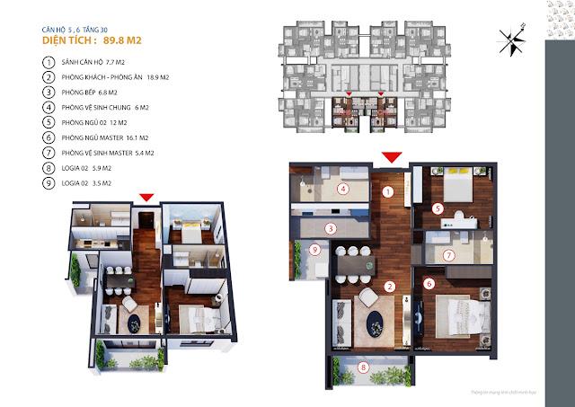 thiết kế chung cư gold tower căn 5,6