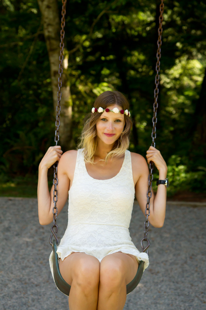 Vancouver Fashion Blogger, Alison Hutchinson, wearing a floral headband from Wild & Heart, Aritzia white lace dress, and Zara Sandals