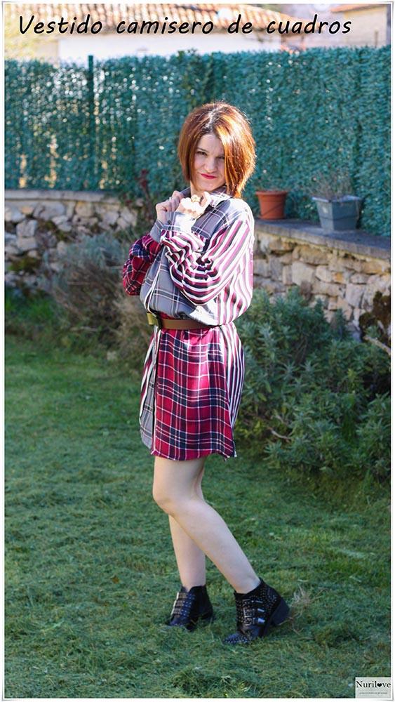 Vestido camisero rayas y cuadros con los colores tendencia