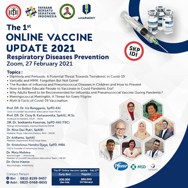 """*THE 1st ONLINE VACCINE UPDATE 2021 : """"Respiratory Diseases Prevention""""*"""