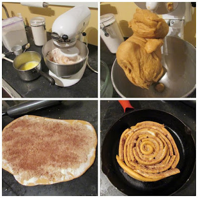 collage of dough at various stages of being made, rolled and shaped into cinnamon roll cake