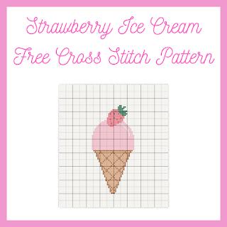 Strawberry Ice Cream - free cross stitch pattern