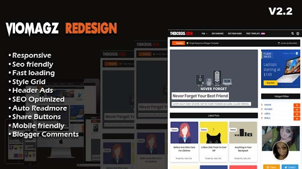 Download Viomagz Redesign Dull v2.2 Template Blogger - Responsive