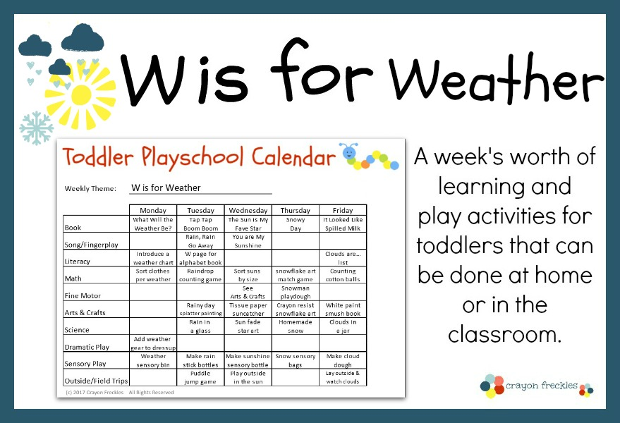 Crayon Freckles: Toddler Playschool: W is for Weather {free printable}