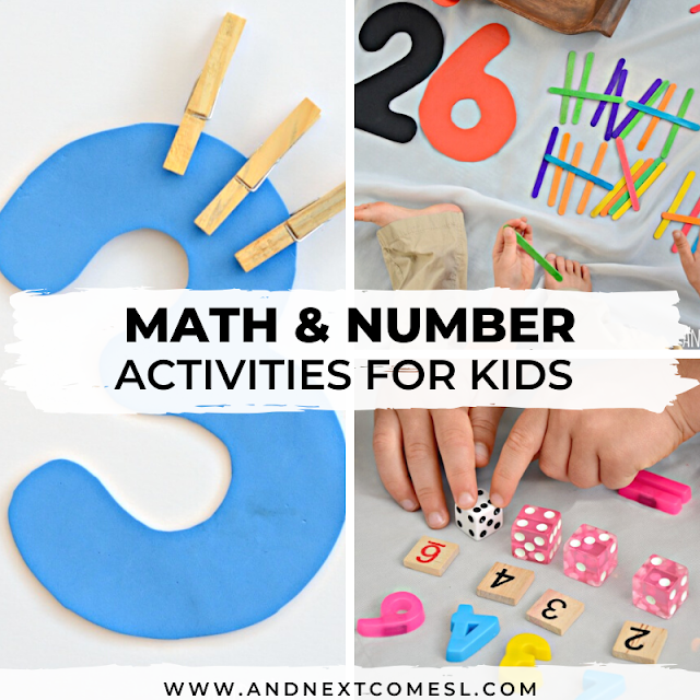 Math activities for preschoolers and number activities for toddlers