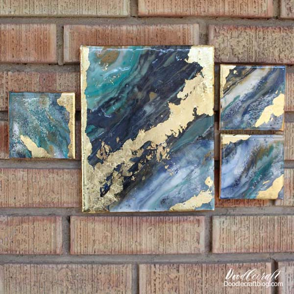Gallery Wall canvas resin paint pour with gold leaf finish