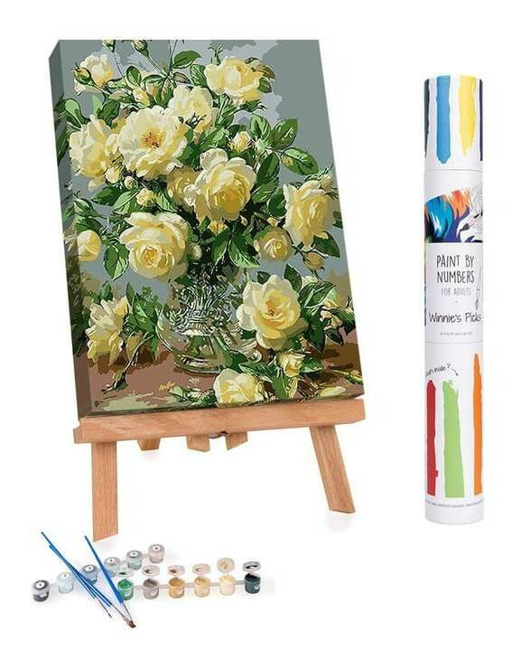 White Roses Of Purity And Humility Paint By Numbers