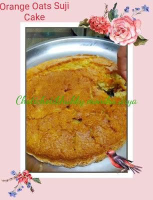 Orange Oats Suji Cake