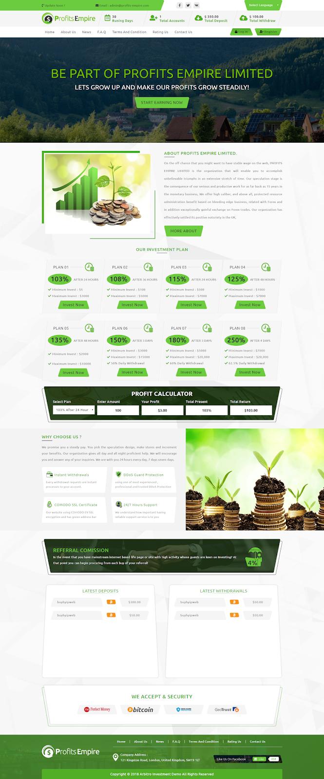 Profits empire Hyip Website Design By BHW